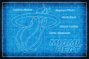Miami Heat Posters - Heat Blueprint Poster by Joe Myeress