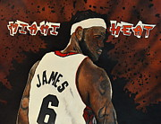 Lebron James Jersey Framed Prints - Heat Framed Print by Michelle Wiltz