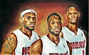 Nba Mixed Media Posters - Heat Trio Poster by Freddie Simpkins