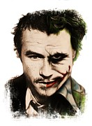 Celebrity Mixed Media Posters - Heath as the Joker Poster by Sheena Pike
