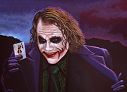 Character Painting Metal Prints - Heath Ledger as the Joker 2 Metal Print by Paul  Meijering