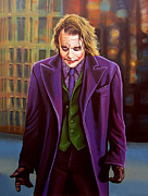 Dark Art Painting Prints - Heath Ledger as the Joker Print by Paul  Meijering