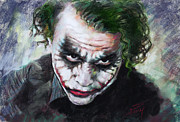 Actors Drawings Posters - Heath Ledger The Dark Knight Poster by Viola El