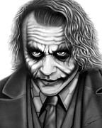 Graphite Drawings Prints - Heath Ledger - The Joker Print by Charles Champin