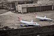London Pyrography Prints - Heathrow Airport London Print by Adrian Pava