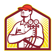 Mechanic Prints - Heating and Cooling Refrigeration Technician Retro Print by Aloysius Patrimonio