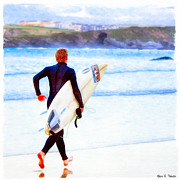 Surfer Art Metal Prints - Heaven Is On A Wave - Surfer At Newquay Metal Print by Mark E Tisdale