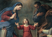 Heavenly And Earthly Trinity With Sts Print by Francesco Albani