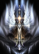 Fractron 9000 Posters - Heavenly Angel Wings Cross Poster by Rolando Burbon