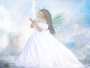 Archangel Pastels Prints - Heavenly Angel Print by Yvon -aka- Yanieck  Mariani