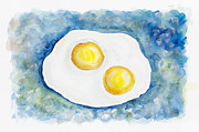 Art Product Painting Prints - Heavenly flying fried eggs  Print by Irina Gromovaja