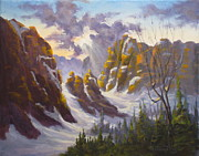 Yosemite Painting Originals - Heavenly light by Mohamed Hirji