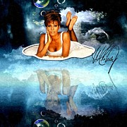 Signature Mixed Media Prints - Heavenly Whitney - A Tribute Print by Amanda Struz