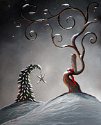 Snowy Trees Paintings - Heavens Brightest Star by Shawna Erback by Shawna Erback