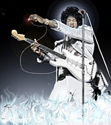 African-american Painting Prints - Heavens Fire - The Jimi Hendrix Series  Print by Reggie Duffie