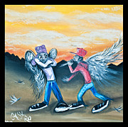 Hiphop Paintings - Heavens Rap Battle by Pete  Castro