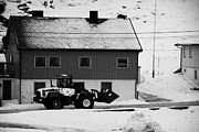 Loader Photos - Heavy Duty Loader Carrying Grit And Stones For Winter Road Preparation Havoysund Finnmark Norway  by Joe Fox