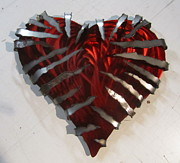 Rock Sculpture Originals - Heavy Metal Heart sculpture by Robert Blackwell