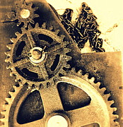 Gears Pyrography Framed Prints - Heavy Metal Framed Print by Victoria Maxon