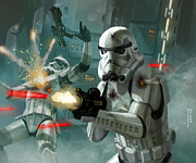 Science Fiction Metal Prints - Heavy Storm Trooper - Star Wars the Card Game Metal Print by Ryan Barger