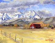 Red Barn Paintings - Heber Valley Farm by Jeff Brimley