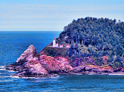 Lighthouse Digital Art - Heceta Head Lighthouse Oregon Coast by Tracie Kaska