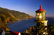 Inge Johnsson Framed Prints - Heceta Head Moonrise Framed Print by Inge Johnsson