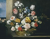 Interior Still Life Photo Metal Prints - Hecke, Jan Van Den 1620-1684. Flowers Metal Print by Everett