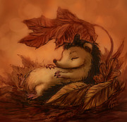 Katerina Romanova - Hedgehog Under Leaves