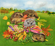 Yellow Line Painting Framed Prints - Hedgehogs Inside Scarf Framed Print by EB Watts