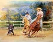 Roping Horse Paintings - Heeler At Work by Todd Derr