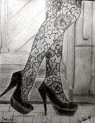 Walking Drawings Posters - Heels and Lace Poster by Chenee Reyes