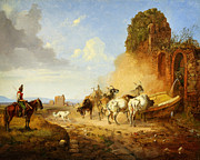 High Society Posters - Heinrich Burkel Cattle Watering at a Fountain on the Via Appia A tiqua Poster by MotionAge Art and Design - Ahmet Asar