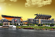 Pittsburgh Digital Art Framed Prints - Heinz Field is Golden Framed Print by Mattucci Photography