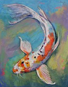 Butterfly Koi Framed Prints - Heisei Nishiki Koi Framed Print by Michael Creese