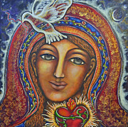 Catholic Art Painting Originals - Held in Her Heart by Marie Howell Gallery