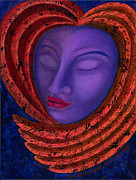 Visionary Artist Painting Originals - Held in the Heart of the Goddess by Annette Wagner