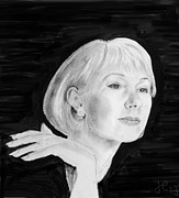 Helen Drawings Framed Prints - Helen Mirren Framed Print by John Eaglesham
