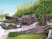 Lodge Furnishings Drawings Prints - Helens Restaurant at Seven Springs Print by Albert Puskaric