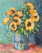 Warm Colors Paintings - Helianthus by Adin OLTEANU