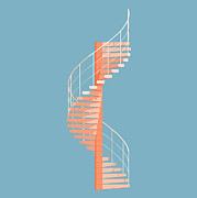 Minimalist Digital Art Framed Prints - Helical Stairs Framed Print by Peter Cassidy