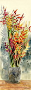 Sympathy Painting Posters - Heliconia Bouquet Poster by Melly Terpening