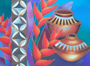 Silk Paintings - Heliconia with Pots by Maria Rova