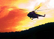Halifax Art Galleries Framed Prints - Helicopter Framed Print by John Malone