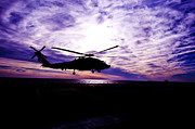Helicopter Silhouette At Sunset Print by Mountain Dreams