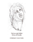 Statue Portrait Drawings Posters - Helios the patron god of Rhodes Poster by Sharon McNeil