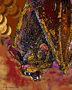 Mix Medium Mixed Media Framed Prints - Hell Bat -2013 Framed Print by Tam Ishmael - Eizman
