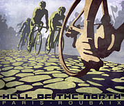 Cycling Art Paintings - HELL OF THE NORTH retro cycling illustration poster by Sassan Filsoof