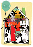 Blue House Prints - Hello Card Print by Linda Woods