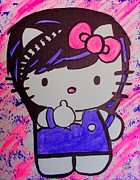 Hello Kitty Paintings - Hello Kitty Scene by Marisela Mungia